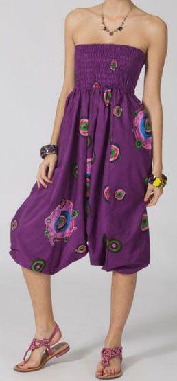 Sarouel femme 3en1 pas cher ethnique et original violet 270368