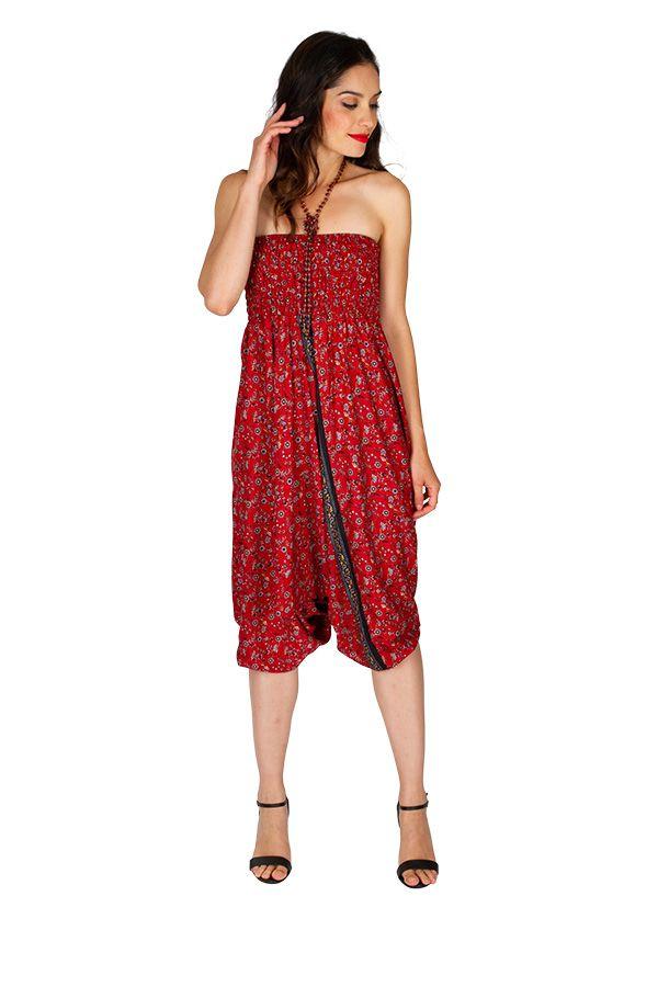 Sarouel femme 3en1 rouge imprimé de petites fleurs Fanny