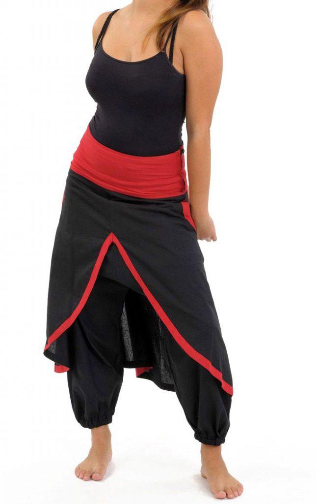 Sarouel femme avec un effet jupe en coton du Népal Minay 305469