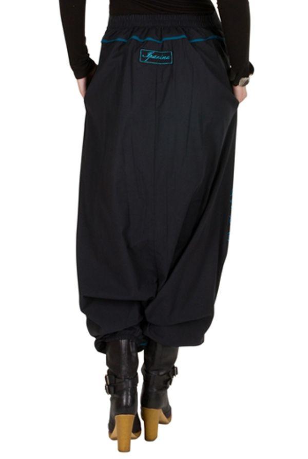 Sarouel femme Bleu avec imprimés mandala et poches Luccina 301306