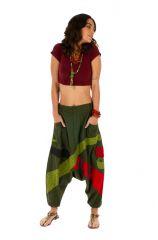 Sarouel femme en coton ethnique et coloré Fayoum vert 314071