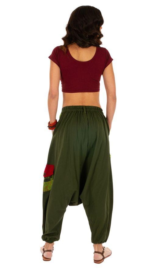 Sarouel femme en coton ethnique et coloré Fayoum vert 314072