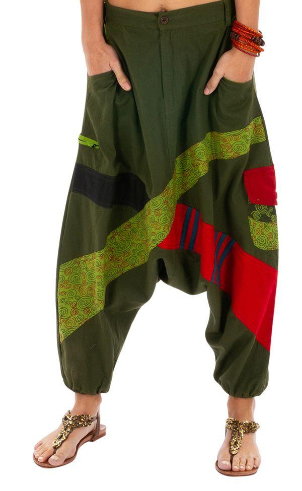 Sarouel femme en coton ethnique et coloré Fayoum vert 314073