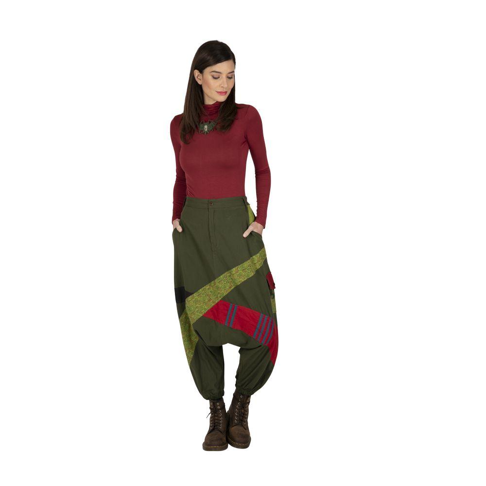 Sarouel femme en coton ethnique et coloré Fayoum vert 323292