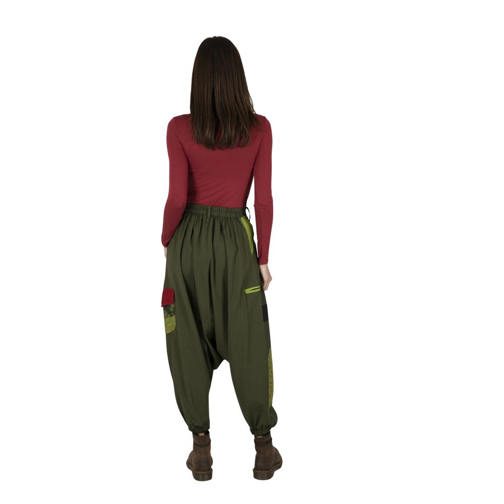Sarouel femme en coton ethnique et coloré Fayoum vert 323293