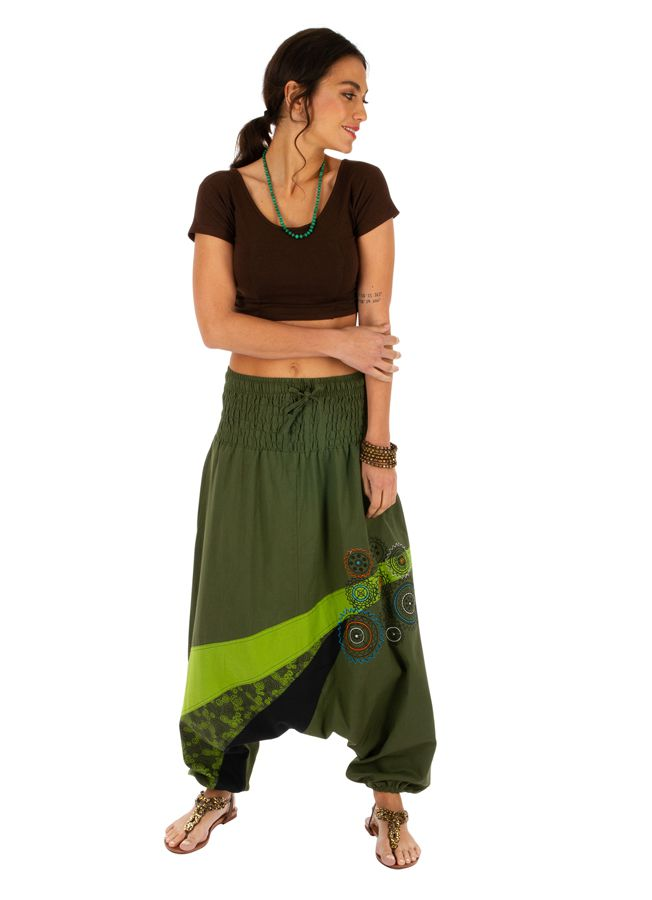 Sarouel femme ethnique à taille smockée Allada vert 313600