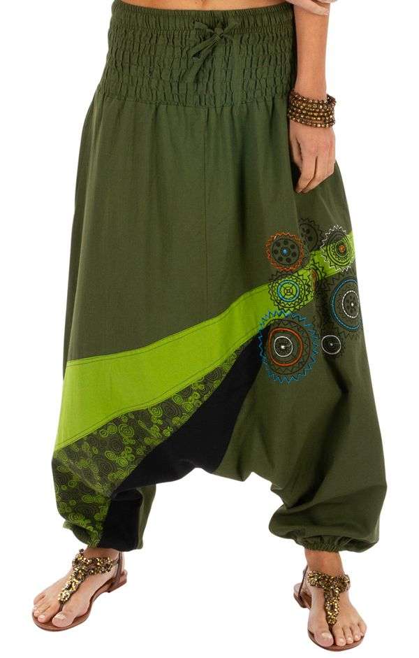 Sarouel femme ethnique à taille smockée Allada vert 313602