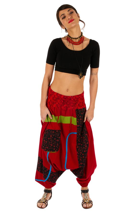 Sarouel femme ethnique et très original Owando rouge 313963