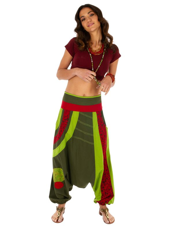 Sarouel femme ethnique idéal pour festival Zagazig vert 314086