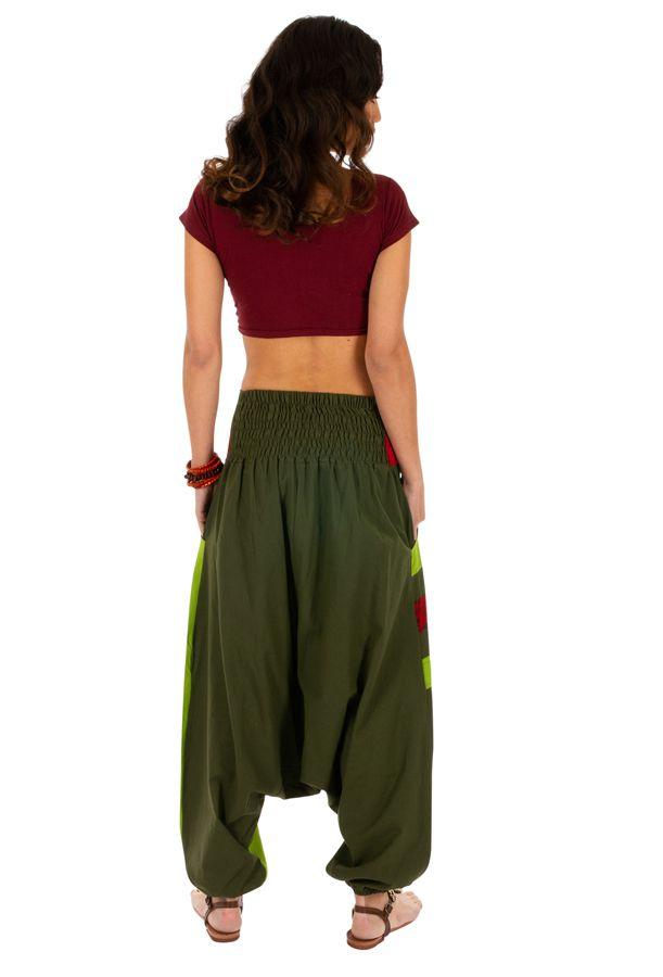 Sarouel femme ethnique idéal pour festival Zagazig vert 314087