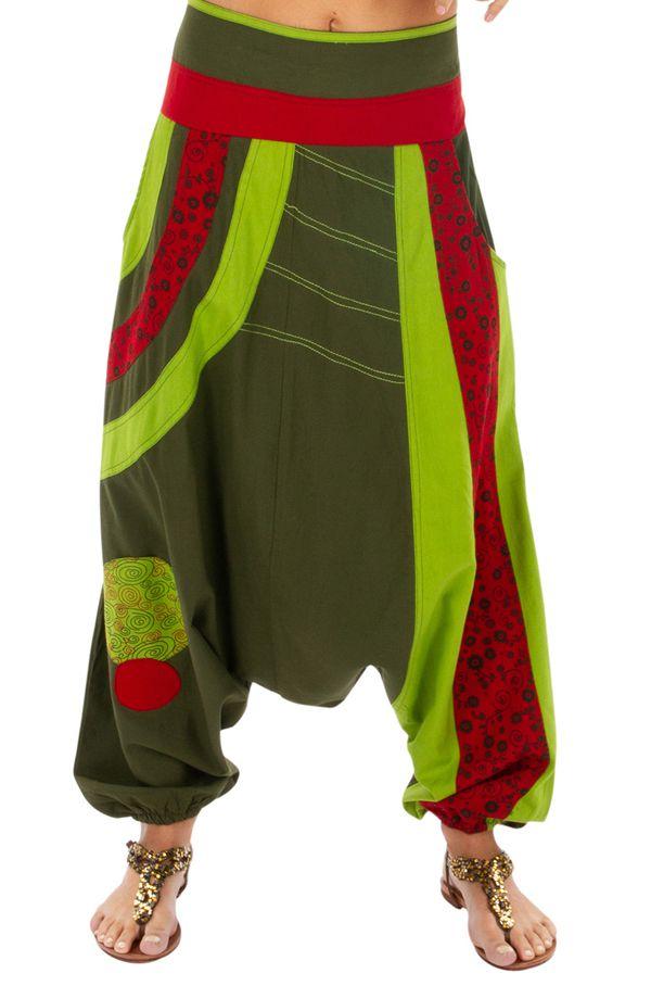 Sarouel femme ethnique idéal pour festival Zagazig vert 314088