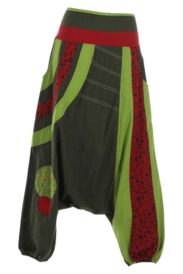 Sarouel femme ethnique idéal pour festival Zagazig vert 314822