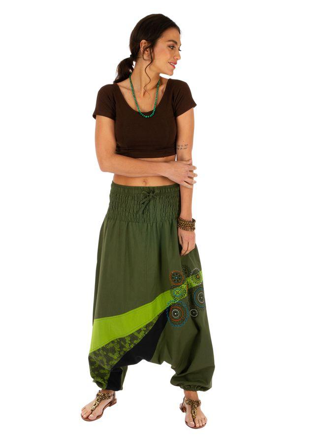 Sarouel femme ethnique sarouel homme pas cher Allada vert 313600