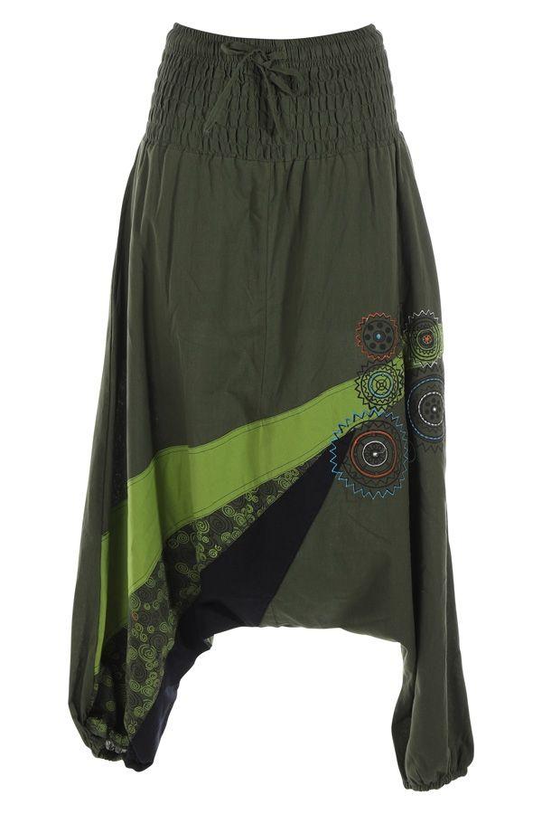 Sarouel femme ethnique sarouel homme pas cher Allada vert 315019