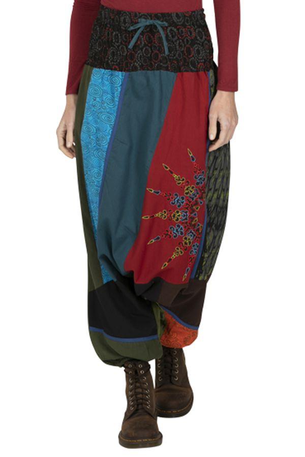 Sarouel femme ethnique très coloré fourche basse Eliott 323339