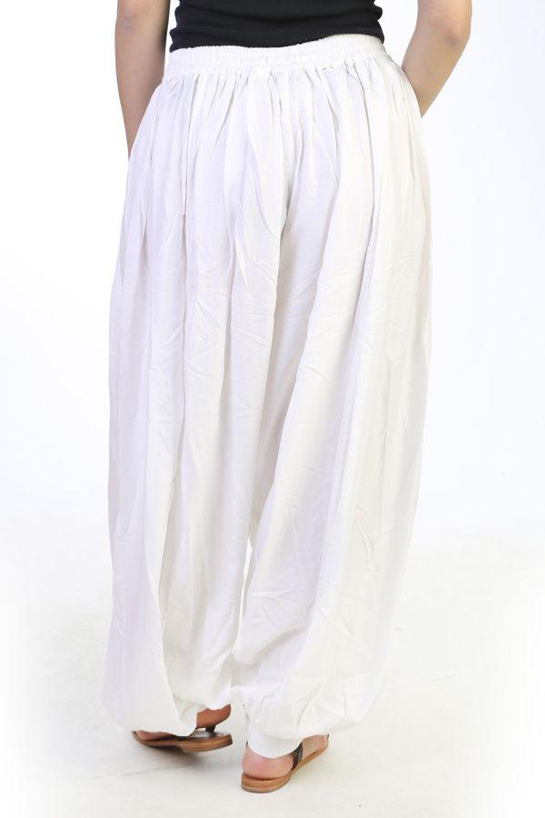Sarouel femme fourche haute Rayonnant et Elégant Vivien Blanc 291049