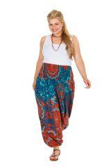 Sarouel femme grande taille imprimé floral et exotique très coloré Abi 306375
