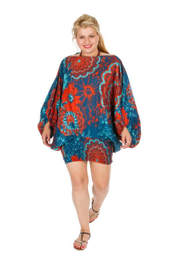 Sarouel femme grande taille imprimé floral et exotique très coloré Abi 306377