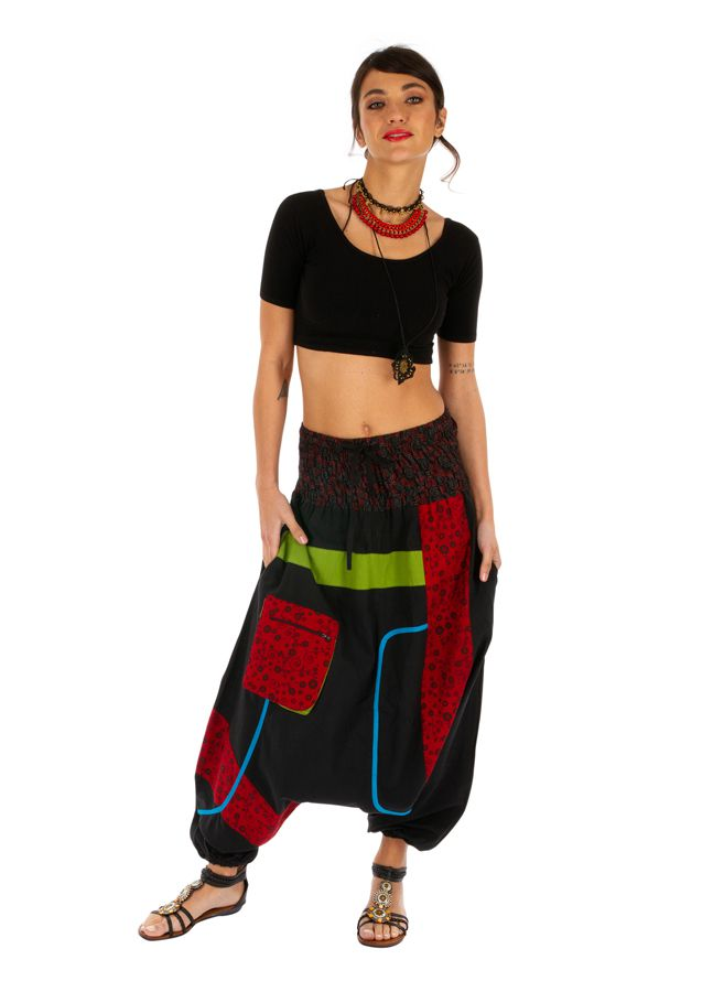 Sarouel femme noir à empiècements colorés ethniques Owando 313966
