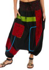 Sarouel femme noir à empiècements colorés ethniques Owando 313968