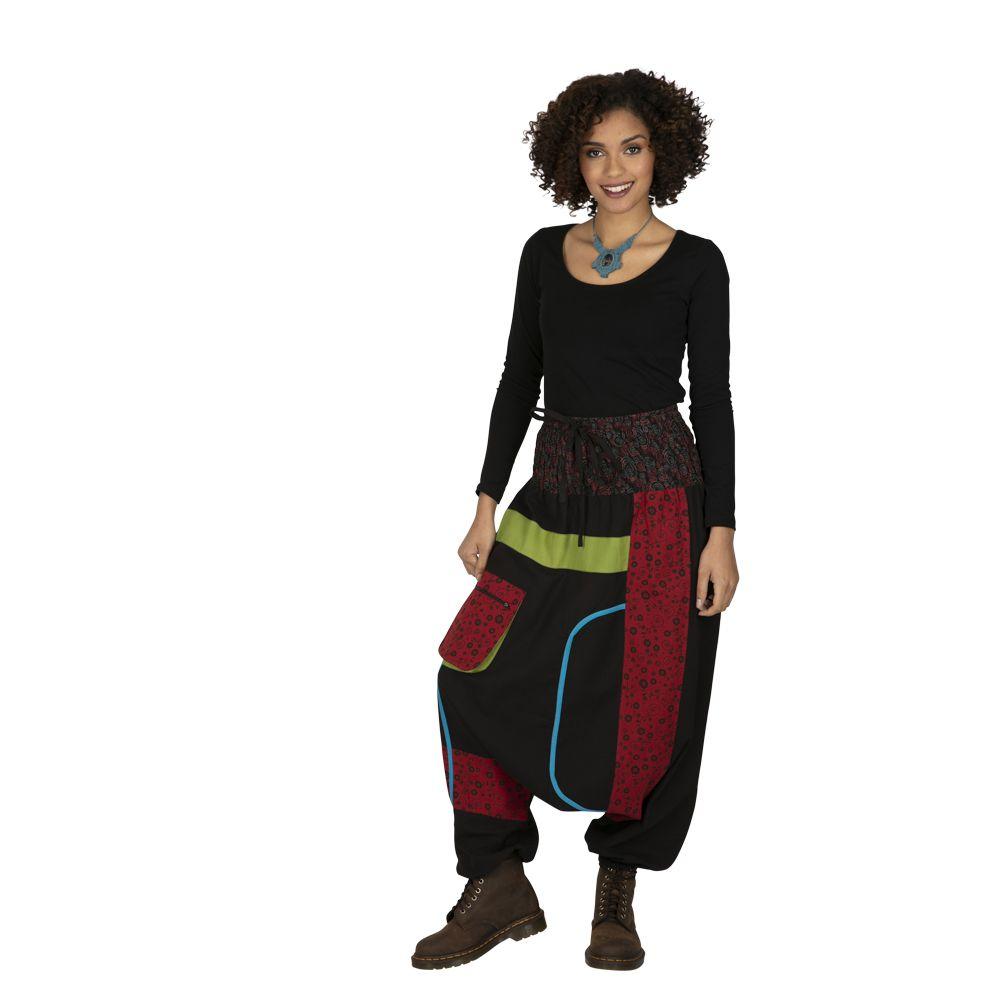 Sarouel femme noir à empiècements colorés ethniques Owando 323290