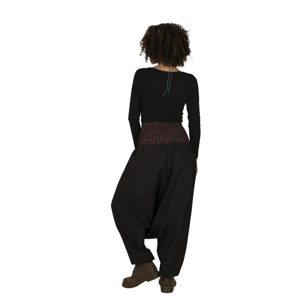 Sarouel femme noir à empiècements colorés ethniques Owando 323291
