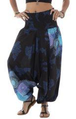 Sarouel femme noir et bleu en coton pour l'été Roxana 291456