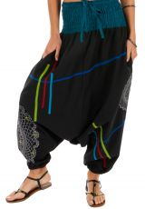 Sarouel femme noir ethnique à fourche basse Louxor 314064