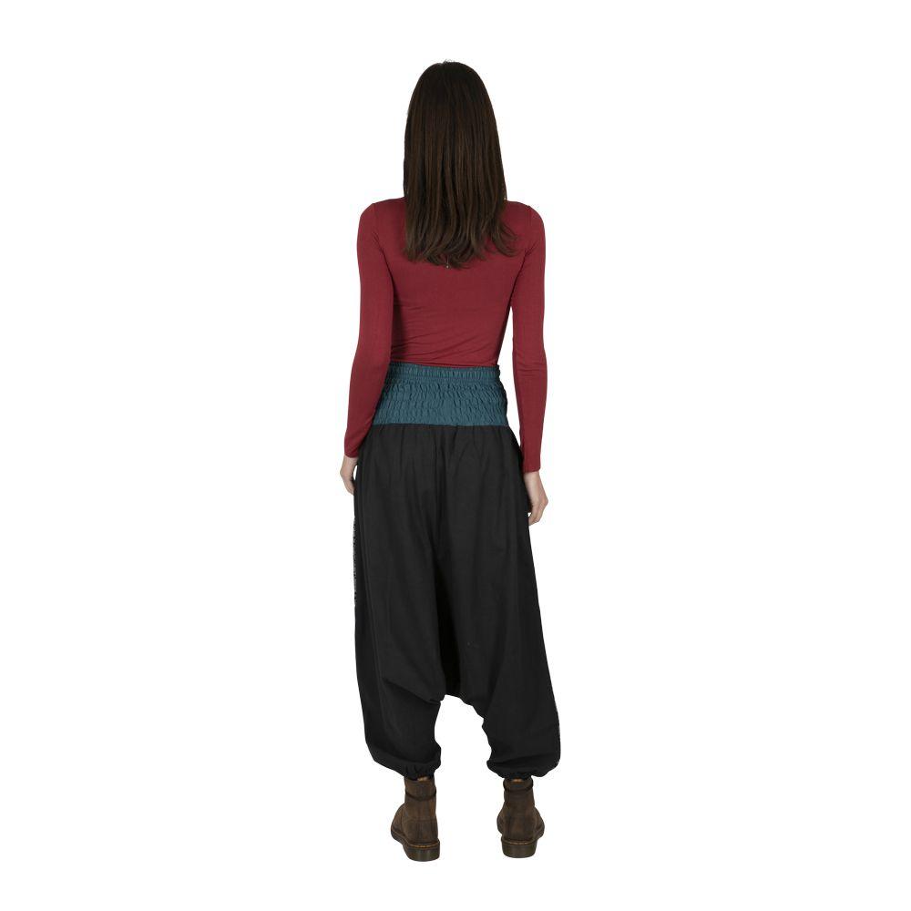 Sarouel femme noir ethnique à fourche basse Louxor 323289