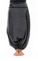 Sarouel femme original à imprimé psychédélique noir et gris Shupy 303212