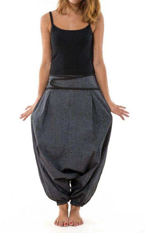 Sarouel femme original à imprimé psychédélique noir et gris Shupy 303213