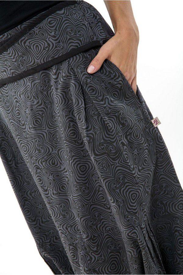 Sarouel femme original à imprimé psychédélique noir et gris Shupy 303215