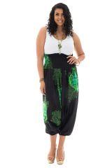 Sarouel femme ronde transformable avec imprimés fantaisies vert&noir Isaure 291731