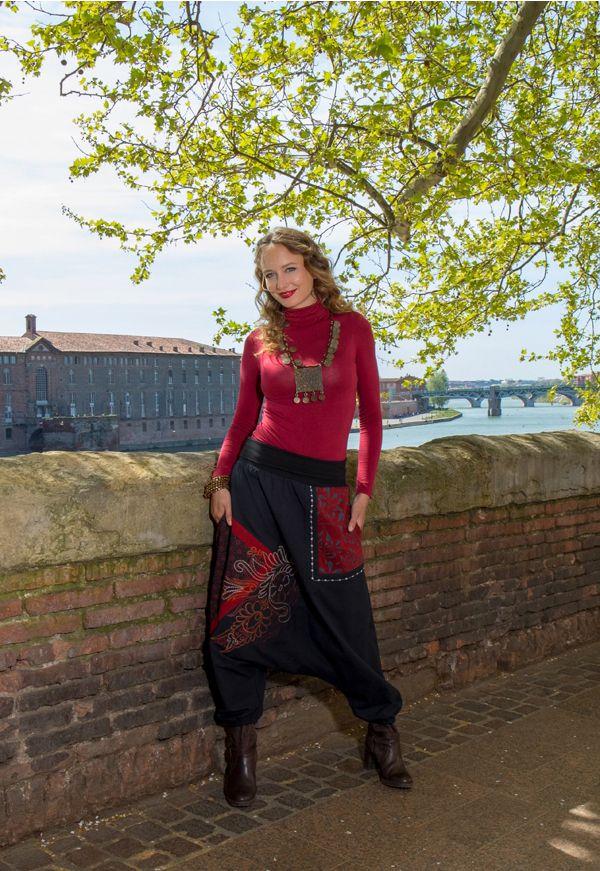 Sarouel femme Rouge avec imprimés tendances et poches Amine 301282