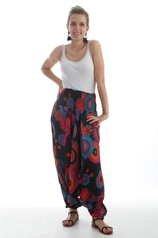 Sarouel femme transformable Noir à Imprimés très colorés Pintana 297876