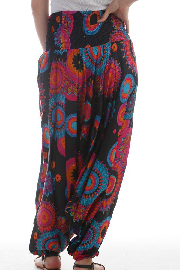Sarouel femme transformable Noir à Imprimés très colorés Pintana 297877
