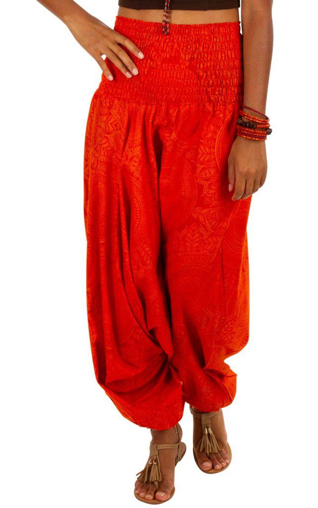 Sarouel fluide imprimé dans les tons de rouge Jasmina 306270