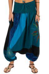Sarouel fourche basse ethnique style patchwork Mindelo bleu 313840