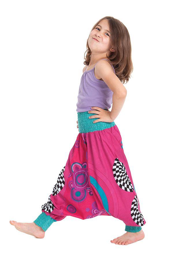 Sarouel Fushia Transformable pour Enfant Original et Coloré Girafe 280268