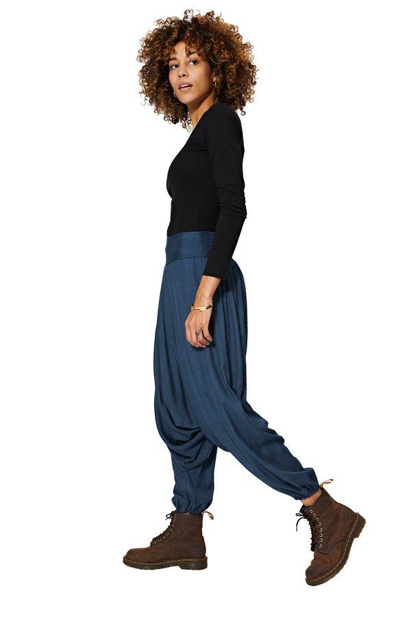 Sarouel hiver uni mixte à ceinture élastique bleu classic Elaina