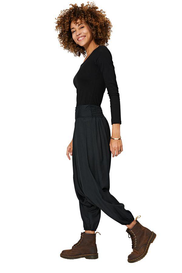 Sarouel hiver uni mixte à ceinture élastique noir Lilah