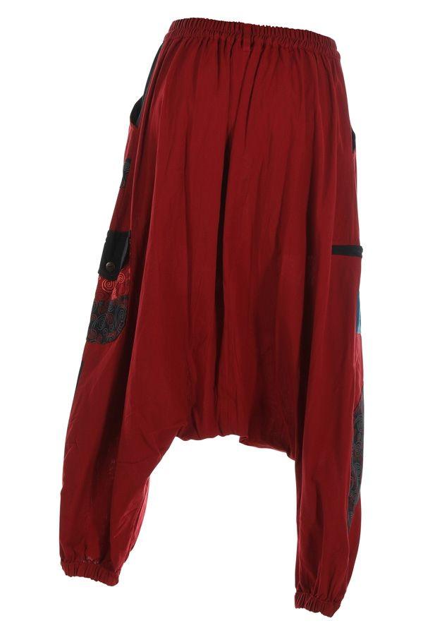 Sarouel homme ou sarouel femme à fourche basse rouge Fayoum 314809