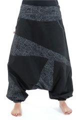 Sarouel imprimé original et tendance en coton noir et gris Mirou 303099