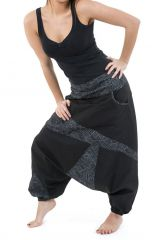 Sarouel imprimé original et tendance en coton noir et gris Mirou 303100