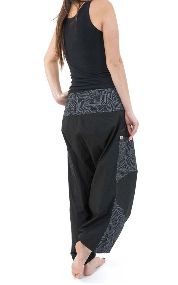 Sarouel imprimé original et tendance en coton noir et gris Mirou 303101
