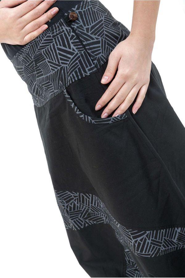 Sarouel imprimé original et tendance en coton noir et gris Mirou 303102