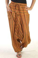 Sarouel inédit avec ceinture élastiqué orange Paige 290693