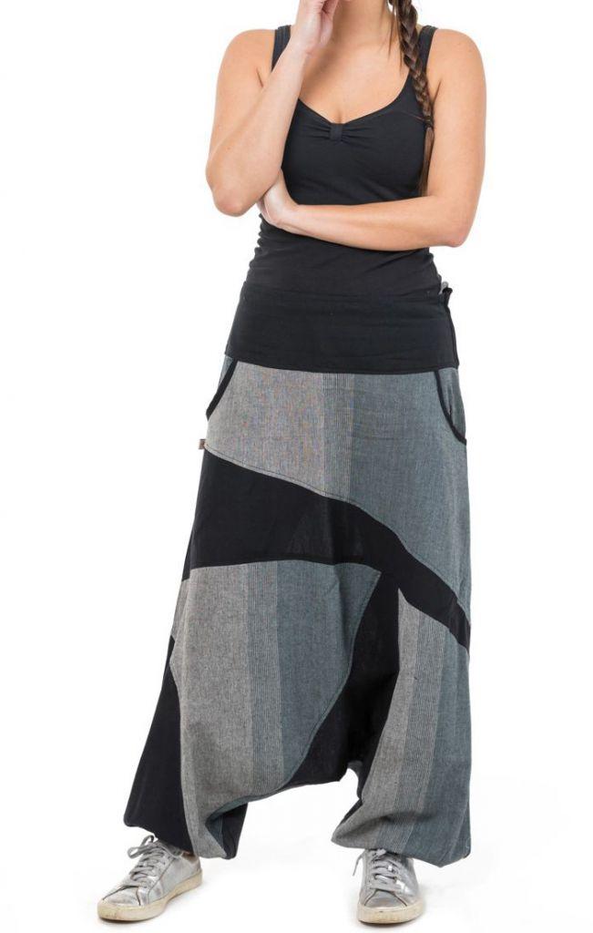 Sarouel jogging homme ou femme mixte noir et gris Pagata 305496