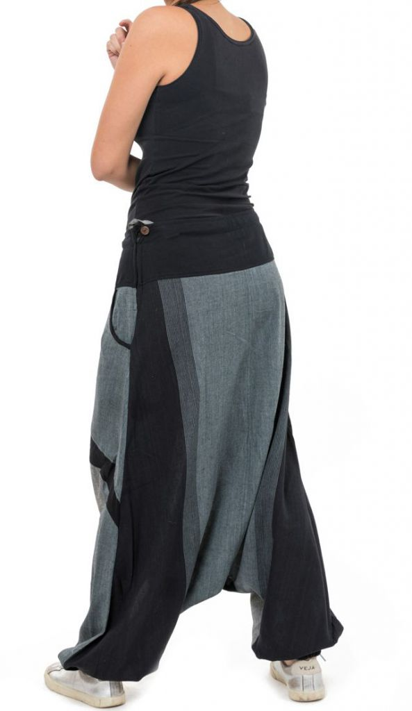 Sarouel jogging homme ou femme mixte noir et gris Pagata 305497