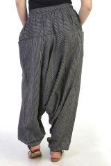 Sarouel large  avec ceinture élastiqué noir&gris Paige 290625